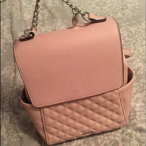 pink leather backpack purse